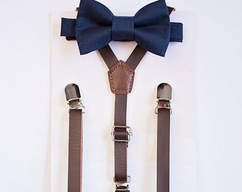 Dark Brown Leather Suspenders Navy Bowtie, Boys Suits, Boys Bow Tie Suspenders, Fall Wedding, Ring Bearer Outfit, Baby Bow Tie, Boys Clothes