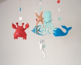 Baby mobile, sea mobile, ocean mobile, nautical mobile, nursery mobile, nursery decor, kids decor, mobile baby, baby crib mobile, ocean baby