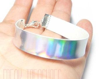 Rainbow holographic bracelet, Kawaii soft grunge pastel goth