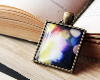 Abstract Waves Pendant- Abstract Necklace - Waves - Surreal - Circles - Bokeh - Rainbow Necklace - Surreal - Playful Colors Jewelry
