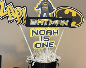 Bat Man / Superhero / Spiderman / Superman Centerpieces - 5 sticks PLUS pail