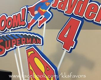 Super Man / Superhero / Batman / Spiderman Centerpieces - 5 sticks PLUS pail