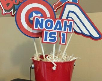 Captain America / Superhero / Batman / Superman / Iron Man Centerpieces - 5 sticks PLUS pail