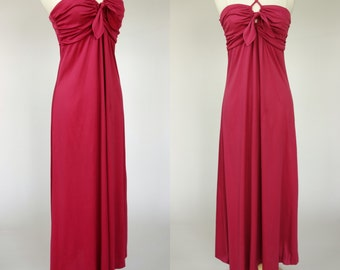 1970s pink disco maxi dress, front cross strap fuchsia floor length dancing queen dress, Medium, US 8