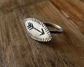 Silver Arrow Ring, Semi Oval Carved Arrow Ring, Adjustable Handmade jewelry, 925 Sterling Silver Jewelry, bohemian jewelry, Rings For Women