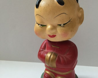 Vintage Asian Bobble Head Figure-Made in Japan-Red/Gold/Jeweled Eyes