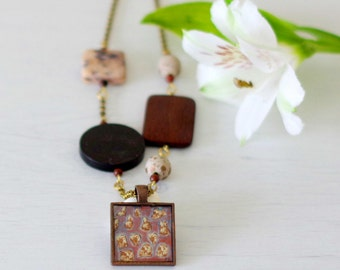 Brown Pendant Necklace, Bronze Pendant, Brown Necklace, Brown Resin Pendant, Mix and Match Necklace, Art Pendant, Wood Connectors Necklace