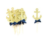 12 Gold Glitter & Navy Bow Anchor Cupcake Toppers - Nautical Bachelorette Party, Nautical Wedding, Anchor cupcake topper