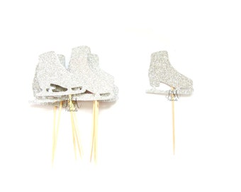 12 Silver Glitter Ice Skate Cupcake Toppers  -  Birthday Cupcake Topper, silver birthday cake topper, christmas cupcake topper