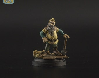 54mm ProPainted Dwarf with hammer - Starkad the Bold resin figure