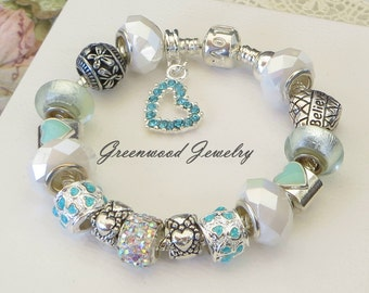 Amazonite - European Style Charm Bracelet - Mint Murano Lampwork Glass And Crystal Beads & Charms Inspiring Believe