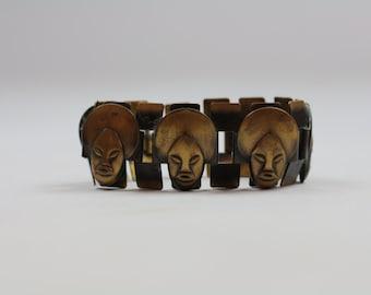 SALE: 1960's Brass African Mask Bracelet