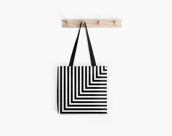 Black and White L Stripe Tote Bag