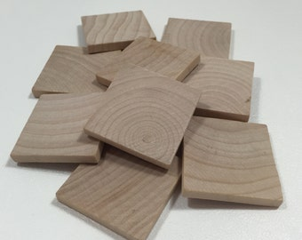 """1 1/2""""  Wood Square - Set of  10 Wood Tiles - Unfinished Wood - Wooden Squares - 1/8"""" Thick"""