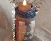 Primitive Halloween Tea Light Jar, Grungy Battery Operated Candle Holder, Witch Lighted Jar Luminary,Lit Trick Or Treat Decoration