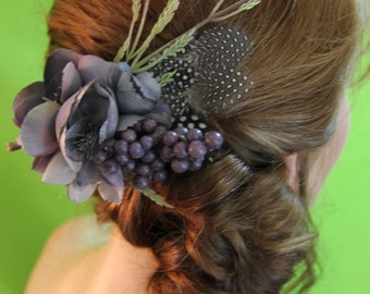 "Gray and Purple Floral with Feather and Wheat Spray Hair Clip ""Peyton"""