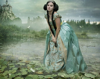 Ophelia art print, Ophelia wall art, Princess art print, fairy tale wall art, fant asy Princess, Castle wall art, beautiful woman, pond