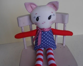 KAWAII CAT PLUSH - Handmade vintage-inspired cat plushie cloth doll baby toy Soft Toy
