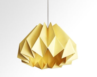 Pumpkin / Origami Paper Lamp Shade - Canary Yellow
