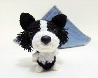 Amigurumi miniature Border Collie, crochet Border Collie. Cute Border Collie plushie. Border Collie plush toy.