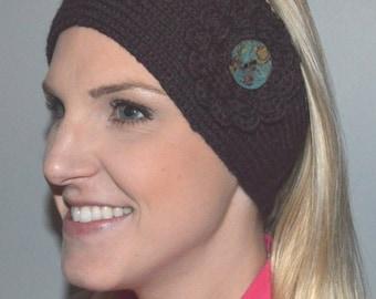 Merino Wool Hand Knit Headband / Ear Warmer in Deep Brown Heather with Coconut Button (Item #78)