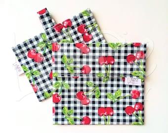 Reusable Sandwich Bag & Reusable Snack Bag Set in PLAID CHERRIES print - Velcro - ECOfriendly - Food Safe - Dishwasher Safe - Back to School