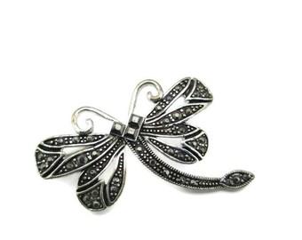 Vintage Silvertone Marcasite  Rhinestone Dragonfly Pin