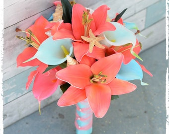 Silk Wedding Bouquet - Natural Touch Coral and Aqua Teal Mint Callas and Lilies Seashell Silk Bridal Bouquet Turquoise