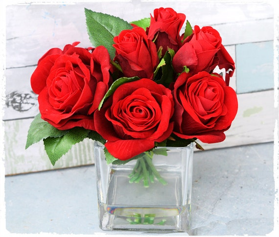 Items similar to christmas velvet red rose arrangement