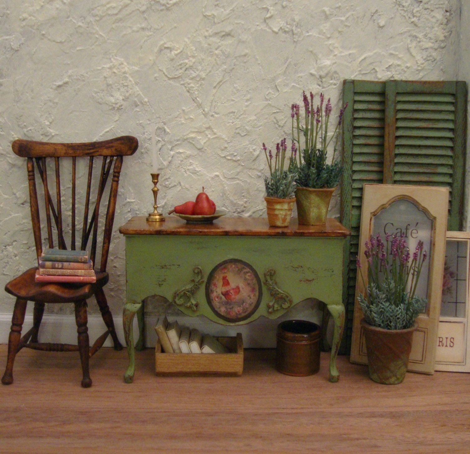 Rustic Country French Rooster Console 1/12th Scale Dollhouse