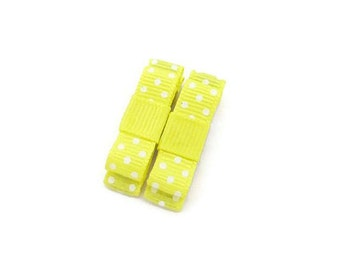 Yellow Polka Dot Hair Clips/ Toddler Hair Clip/ Kids Clippies/ Children Hair Accessories/ Girl Hair Clips/ Yellow Hair Clips