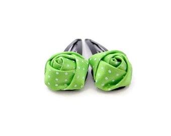 Green Polka Dot Hair Clips/ Satin Flower Hair Clips/ Green Satin Hair Snaps/ Green Flower Hair Snaps/ Rose Flower Hair Clips