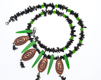 Copper Swirl Necklace Tribal Style Recycled Glass and Semiprecious Stones Necklace, comes with FREE matching Earrings