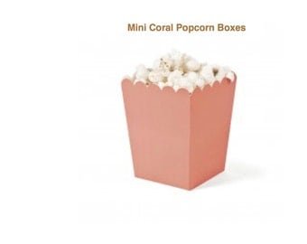 Mini Coral Popcorn Boxes.....12 Ct....Party Favors.....Candy Buffett.....Wedding Favors....Baby Showers......