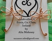 handcrafted copper wire dragonfly shaped earrings. Made in Ireland.