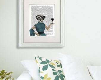 Wine lover wine gifts for mom wine lover gift - Dalmatian print Wine Snob  wine gifts for her best wine gifts dalmatian décor dog lover gift