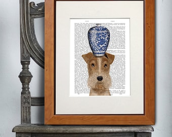 Wire Fox Terrier Art Print - Blue and white Vase - Living room décor bedroom wall décor chinese vase whimsical art dog art dog lover
