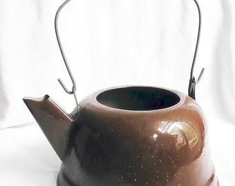 Vintage Brown Enamelware Tea Kettle,Brown Speckleware,Kitchenalia,Vintage enamelware,Vintage tea kettle,Speckleware Kettle, No Lid