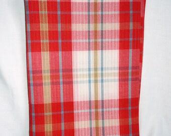 Retro Red Blue Plaid Rib Bunk Bed Bedspread, Plaid Bunk Bed Cover, 63x90