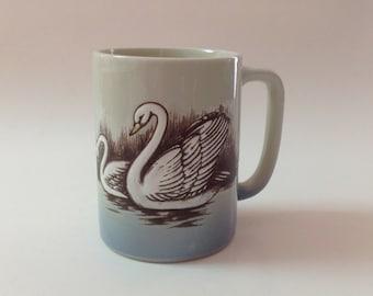 Vintage Otagiri Swan Mug, Hand Painted 1980s Otagiri Swans Mug