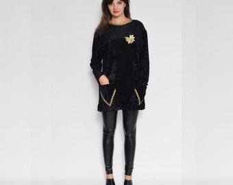 Vintage 80's Velvet Embellished Long Sleeve Tunic