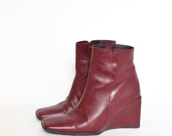 Vintage Red Leather Wedge Boots with side Zipper