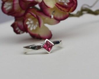 Pink Tourmaline & Silver Princess Cut Ring