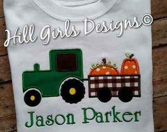Boy's fall pumpkins on a tractor long OR short sleeved tee