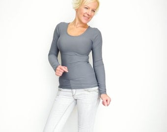 Gray Bodycon Top, Scoop Neck Shirt, Long Sleeve Top, Grey Top, Scoop Neck Top, Womens Basic Top, Autumn fashion Shirt, Gray Basic Top