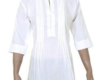 Ethnic Indian White Cotton Top / Kurthi / Kurta / Kurti / Kurtha / Tunic  SHORT LENGTH  s / m / l / xl / xxl / 3xl - 904157