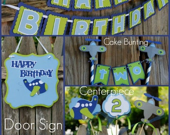 Airplane Birthday Package, Two banners, door sign and centerpiece