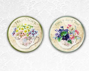 Coasters, Drink Coasters, Tea Coasters, Floral Teacup Coasters,Tableware, Hostess Gift, Birthday Gift, Best friend gift, Set of 2.