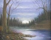 Art Print Moonlight Canoe...
