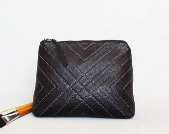 Black leather cosmetic bag, Leather toiletry case, Quilted makeup pouch, Travel leather case.
